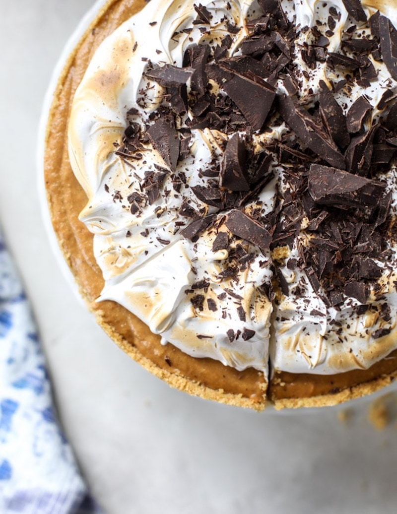 Creative pumpkin pie recipes: Black Bottomed Pumpkin Pie with Marshmallow at How Sweet Eats