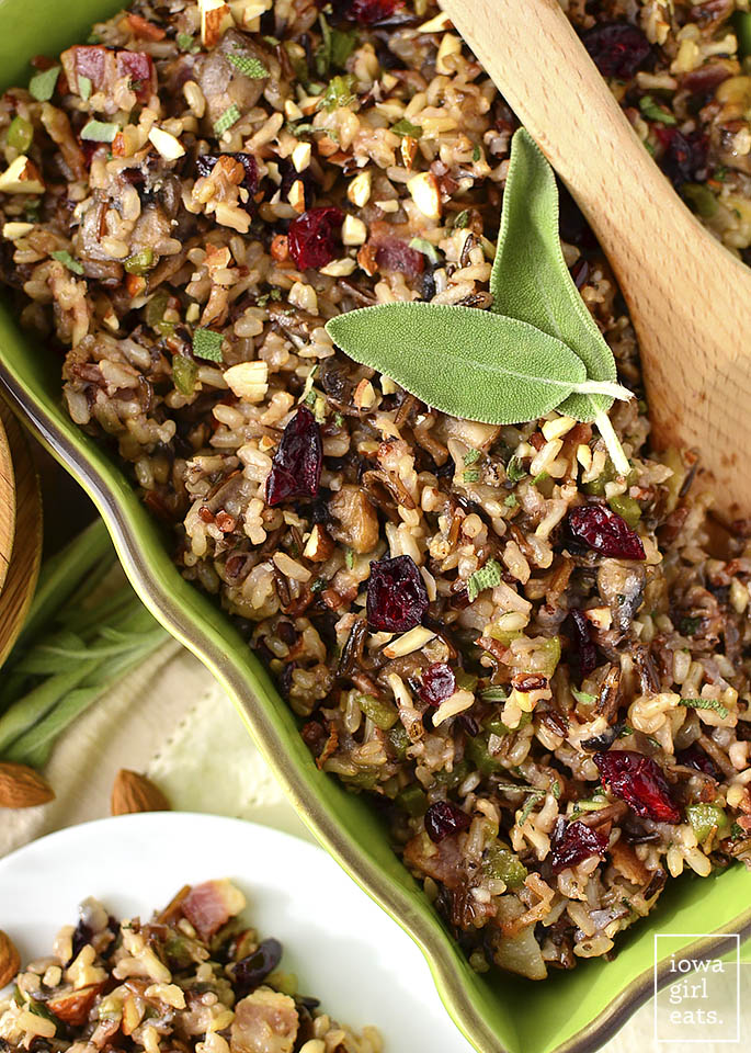 Dairy-free holiday side dishes: Best Ever Wild Rice Stuffing | Iowa Girl Eats