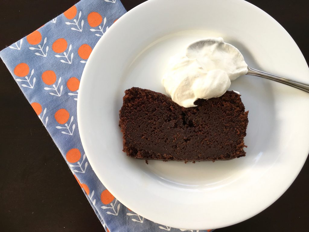 Perfect holiday cake recipe for gift giving: Nigella Lawson's Dense Chocolate Loaf Cake. | © Jane Sweeney Cool Mom Eats