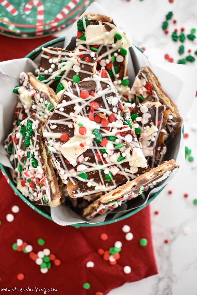 Creative Christmas bark recipes: Christmas Crack at Stress Baking