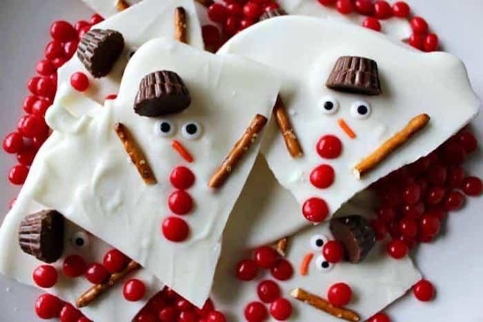Creative Christmas bark recipes: Melted Snowman bark at Princess Pinky Girl