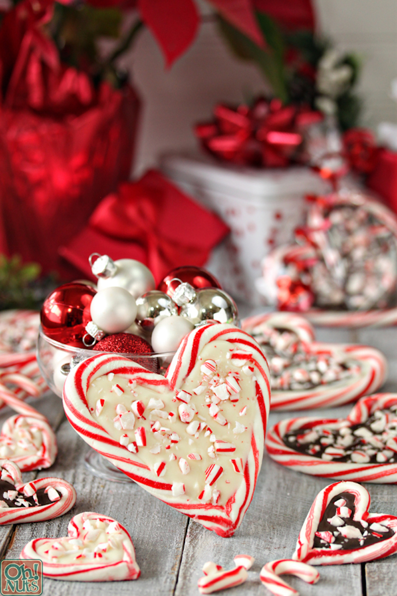Creative Christmas bark recipes: Peppermint bark hearts at Oh Nuts
