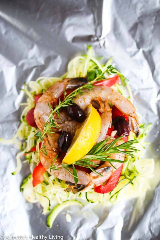 Easy, healthy foil-pack dinners: Grilled Mediterranean Shrimp in a Packet   Jeanette's Healthy Living