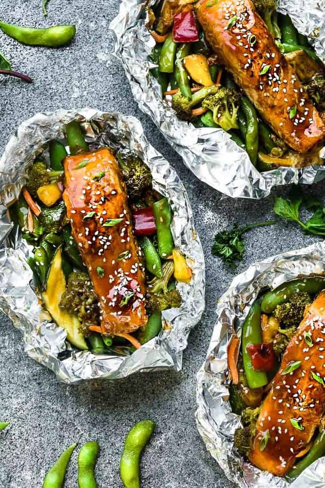 Easy, healthy foil-pack dinners: Teriyaki Salmon Foil Packets | Life Made Sweeter