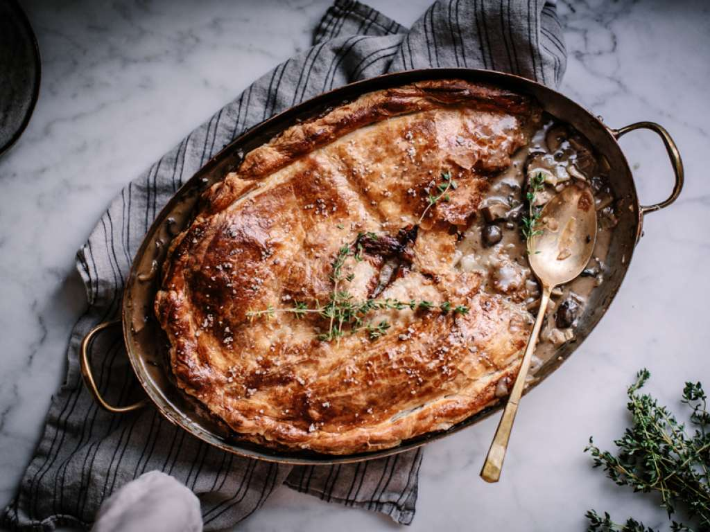 Mushroom, fennel and Camembert pot pie recipe from milk life for holiday entertaining (sponsor)