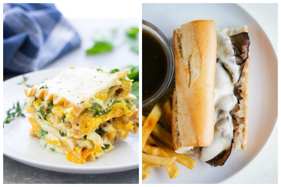 Weekly meal plan: 5 easy meals for the week ahead including an easy vegetarian lasagna and savory French Dip sandwiches