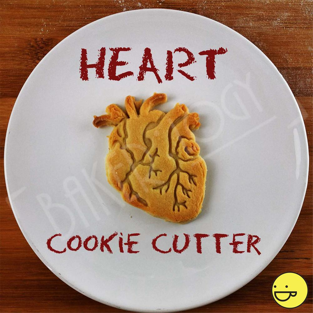 Anatomical heart cookie cutter for anti-Valentine's Day treats, from Baker:Logy