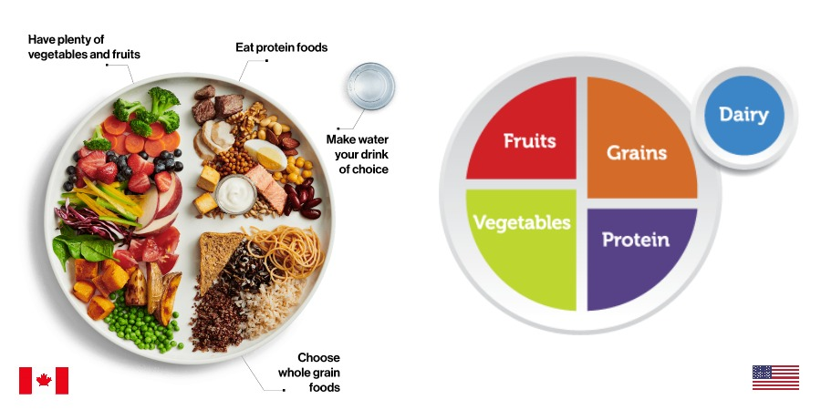 Canada's new food guide vs. the United States food plate