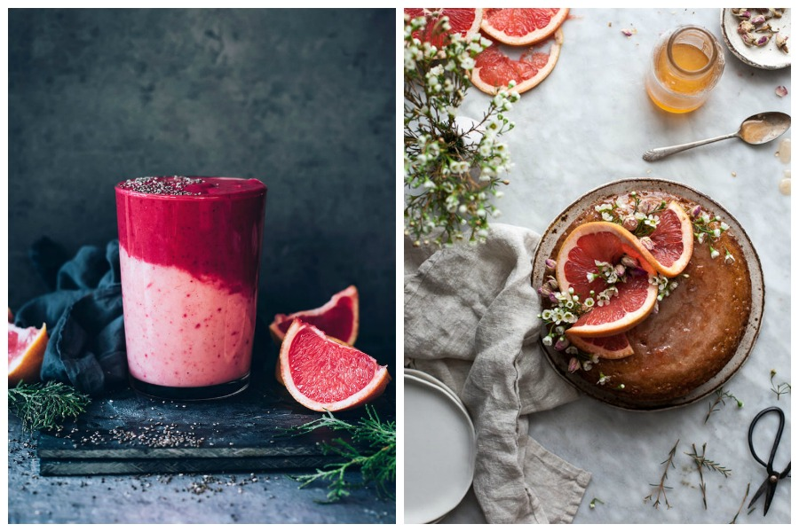 Delicious grapefruit recipes: Grapefruit Chia Smoothies at Hello Glow and Semolina Cake with Rose and Grapefruit Syrup at The Kitchen McCabe
