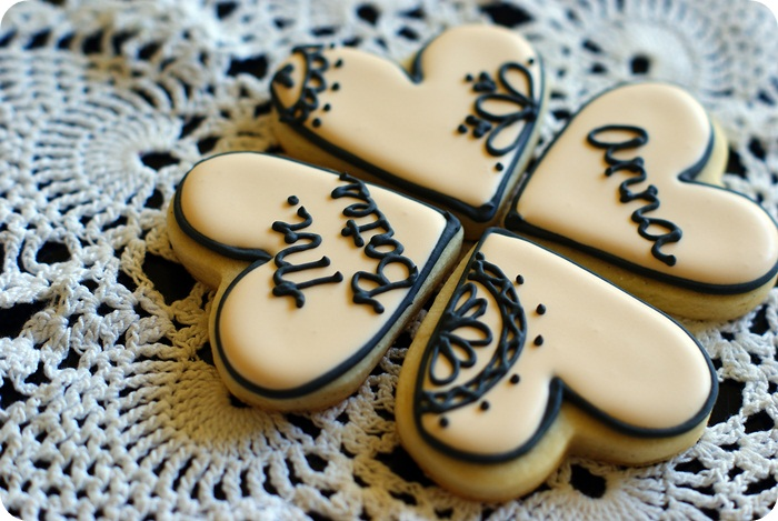Cool Valentine's cookies for teens: Downton Abbey Black Lace Valentine's Cookies from Bake at 350