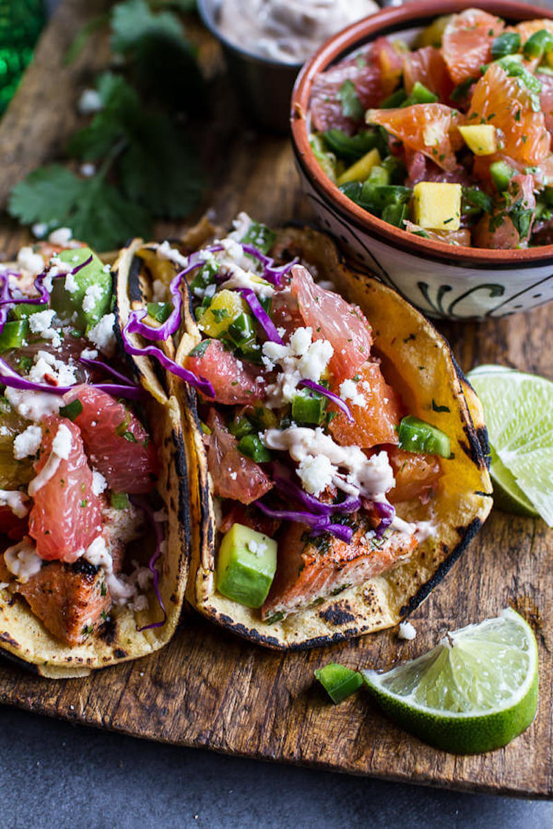 Grapefruit recipes: Citrus Fish Tacos at Halfbaked Harvest