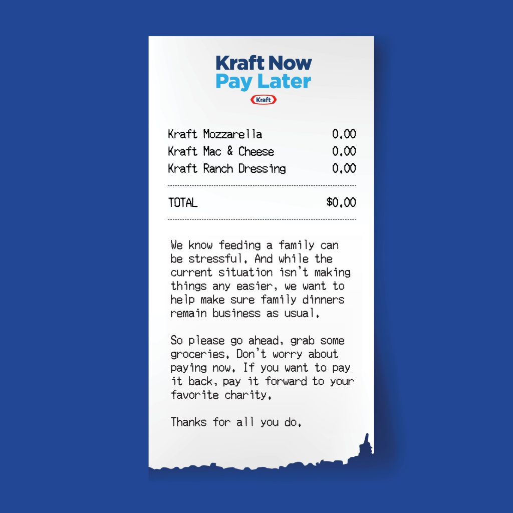 Kraft Now Pay Later is Kraft's effort to provide free groceries to federal workers impacted by the government shutdown -- only asking for them to pay it forward one day when they can