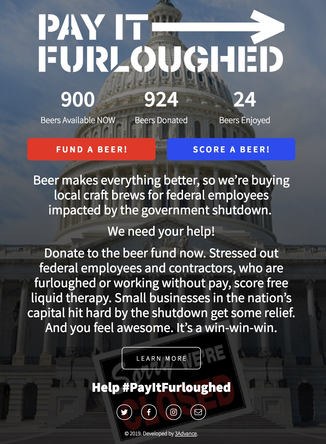 Pay It Furloughed website lets you buy a beer for a federal worker impacted by the shutdown...with participating restaurants joining soon