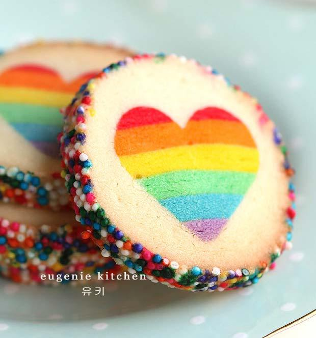 Cool Valentine's Cookies for teens: Hidden rainbow heart cookies by Eugenie Kitchen