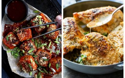 Weekly meal plan: Double Dredged Tofu in Gochujang Sauce at Olives for Dinner; Skillet Chicken at Saving Dessert