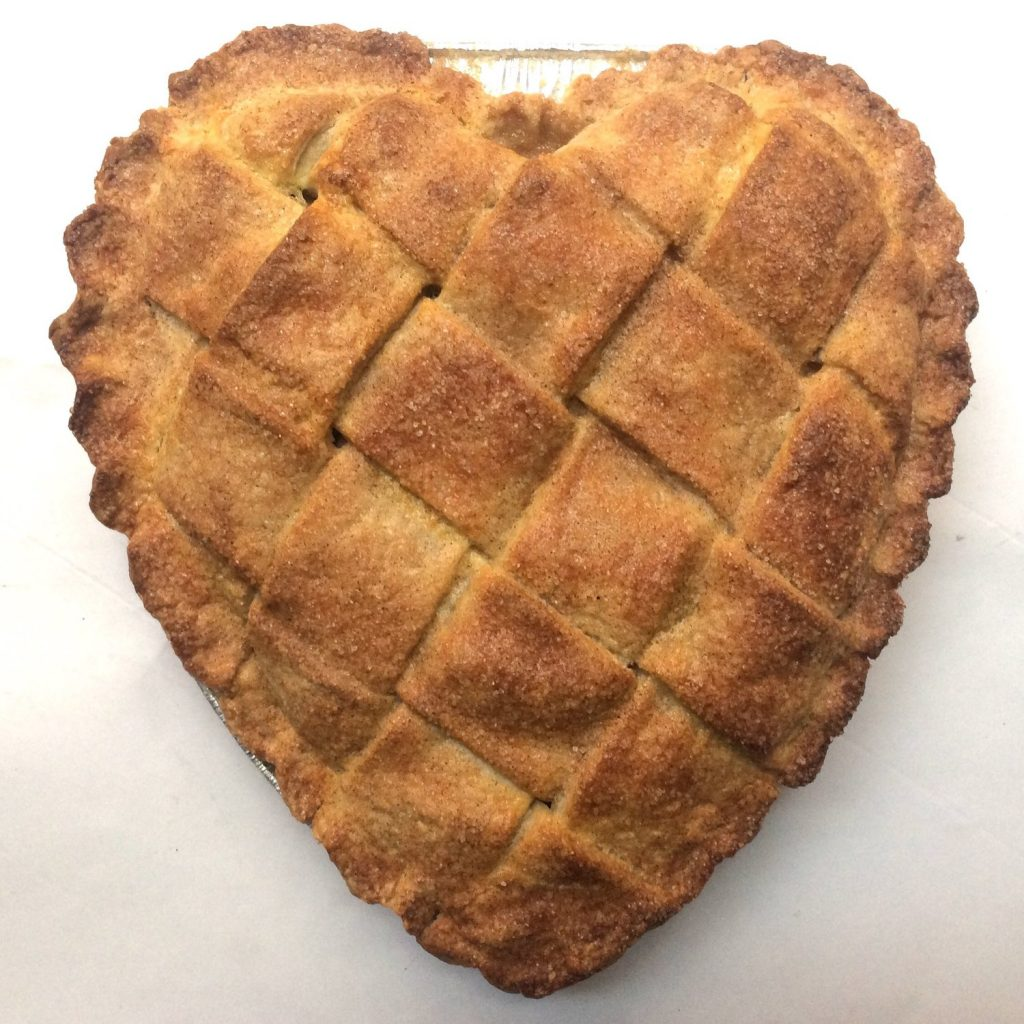 Deep dish heart-shaped made-to-order pies delivered from Cutie Pies NYC for Valentine's Day
