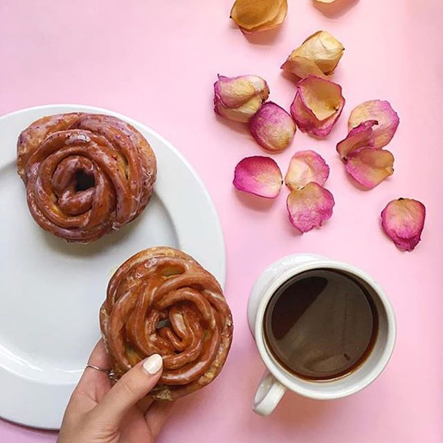 Valentine's Day rose shaped Doughflower donuts from Doughnut Plant: Sweet Valentine's treats besides chocolate | photo @katiealice for @doughnutplant on Instagram