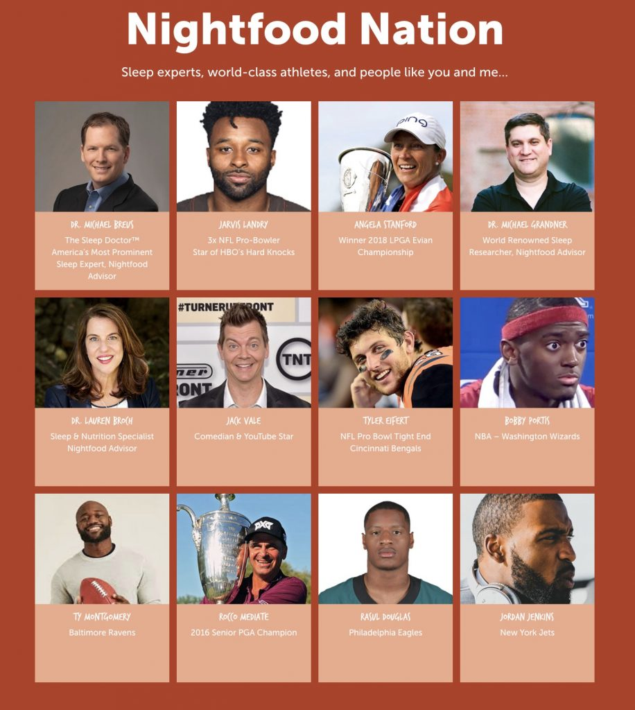 The Nightfood Ice Cream brand ambassadors: Who knew so many NFL players had trouble with sleep?