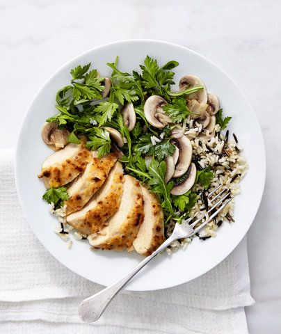 Unexpected uses for mayonnaise: Parmesan-Crusted Chicken with Mushrooms and Arugula Salad. | Photo © Jen Causey for Real Simple