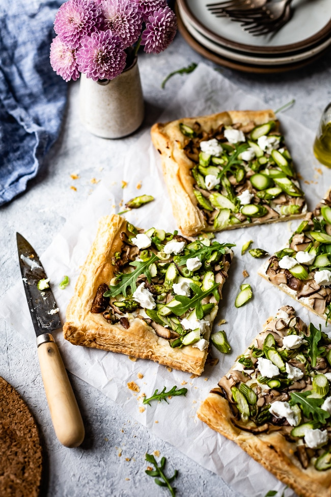 Make-ahead Easter brunch recipes: Goat cheese mushroom asparagus tart at Foolproof Living