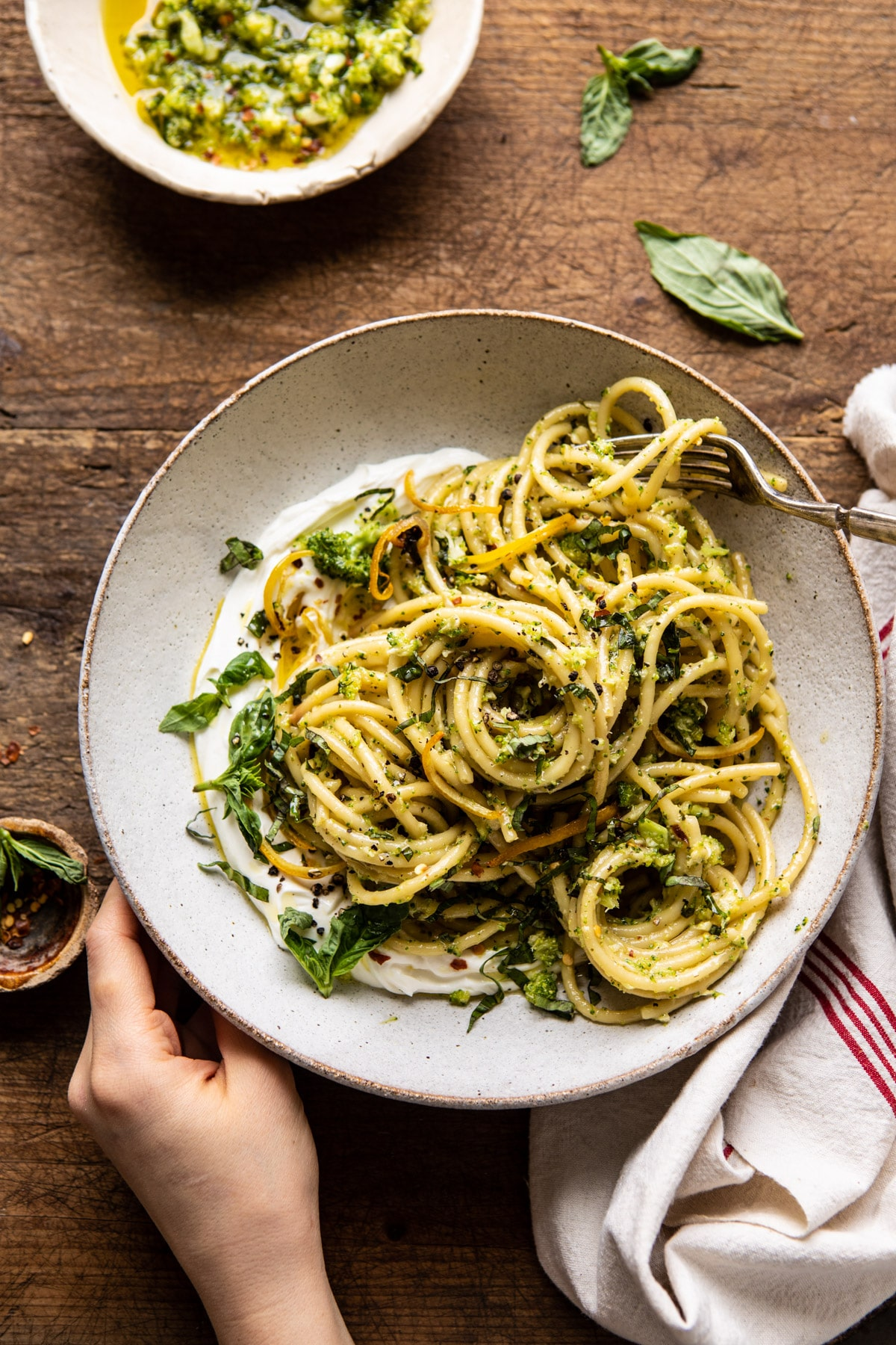 Lighter family dinner ideas for spring: Broccoli pesto pasta with whipped ricotta at Half Baked Harves