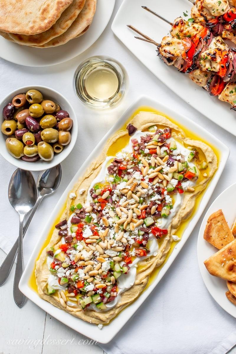 Weekly meal plan: Greek Layered Hummus Dip at Saving Dessert