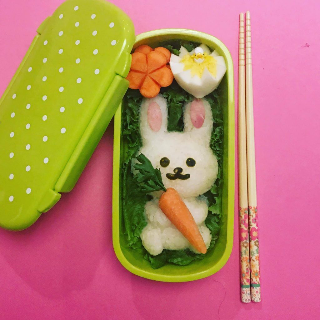 Easter bento kit by Marsha and Kiyomi Takeda-Morrison: Just add the egg, carrot and rice! | coolmomeats.com