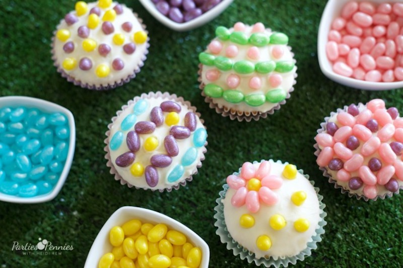 Easy Easter cupcake recipes: Jelly Bean Cupcakes at Parties for Pennies