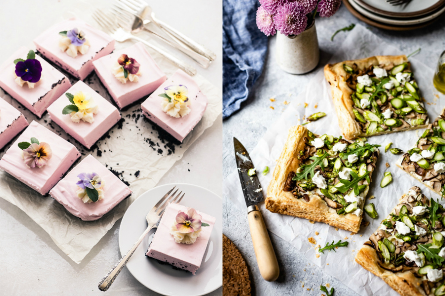 7 make-ahead Easter brunch recipes for a crisis-free holiday |Top image: Goat cheese mushroom asparagus tart at Foolproof Living | No-bake strawberry cheesecake squares at The View from Great Island