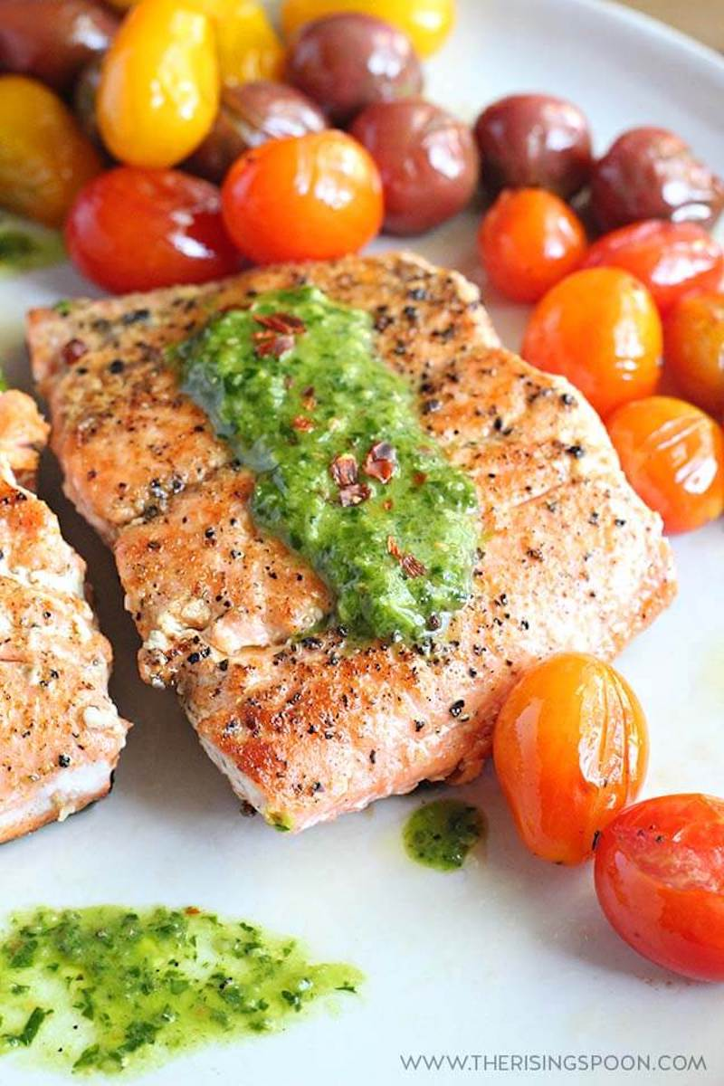 Lighter family dinner ideas for spring: Pan-seared Salmon with Chimichurri at The Rising Spoon