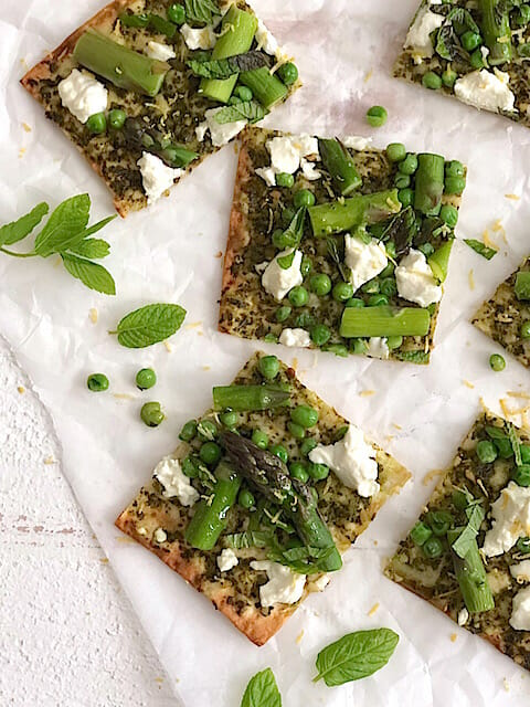 Spring meal ideas to lighten up family dinnertime: Flatbread with spring vegetables and goat cheese recipe from Mom's Kitchen Handbook