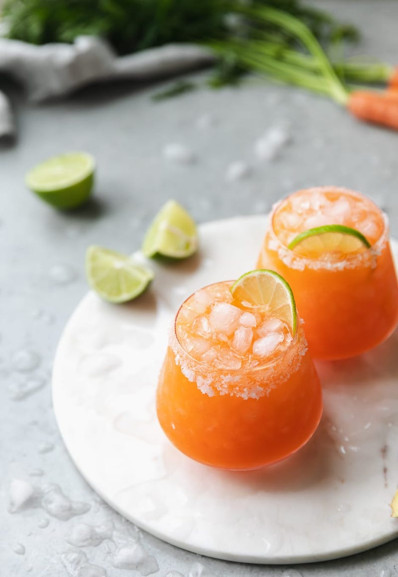 Tequila cocktail recipes: Carrot Ginger Margaritas at Spice in my DNA