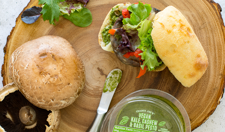 The best Trader Joe's products for Memorial Day and summer: Vegan Kale, Cashew & Basil Pesto is great on Portobello Sliders, Crostini, Past and More