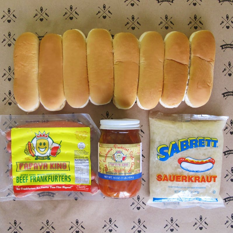 Gourmet gift box for the New York Dad: Papaya King hot dog gift box