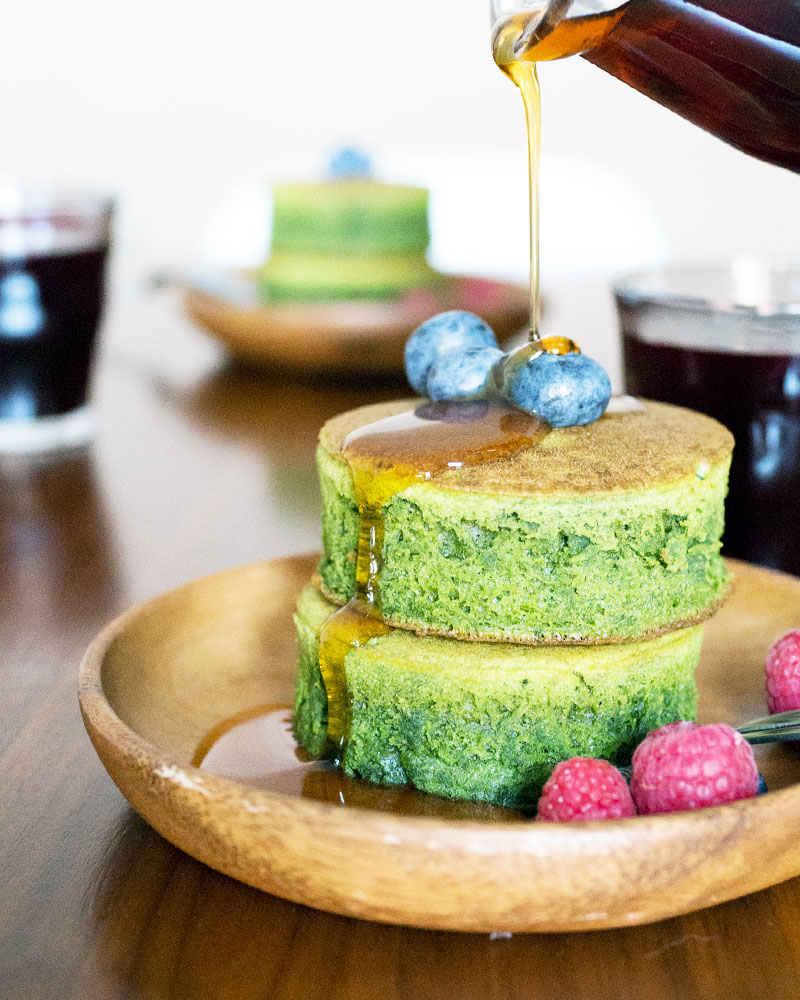 Japanese fluffy pancake recipes: Matcha pancakes at Oh How Civilized