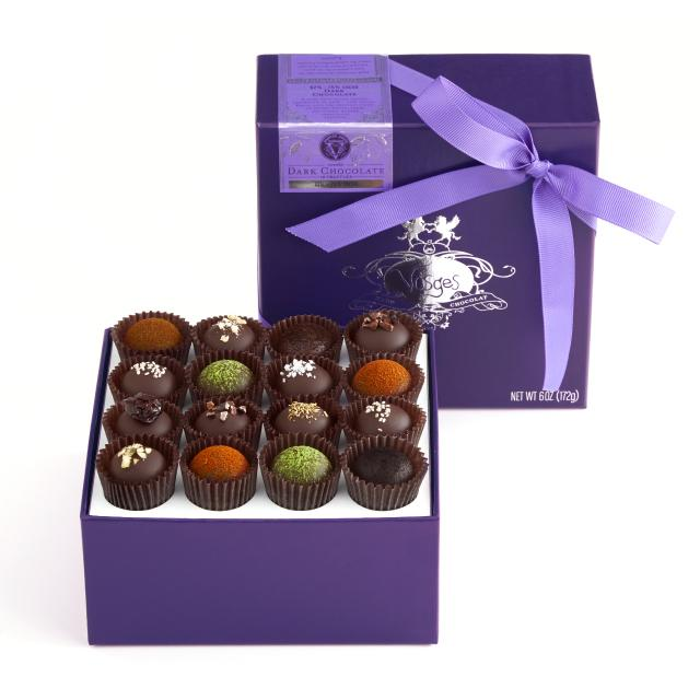Gourmet gift boxes for dads: Vosges dark chocolate truffles collection in exotic flavors