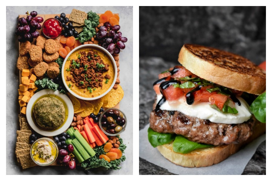 Weekly meal plan: Bruschetta Burgers at Dance Around the Kitchen and Party Platter at Emilie Eats