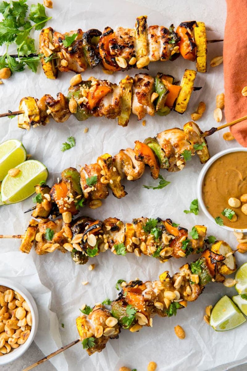 Weekly meal plan: Grilled Spicy Peanut Chicken Kebabs at Spoonful of Flavor