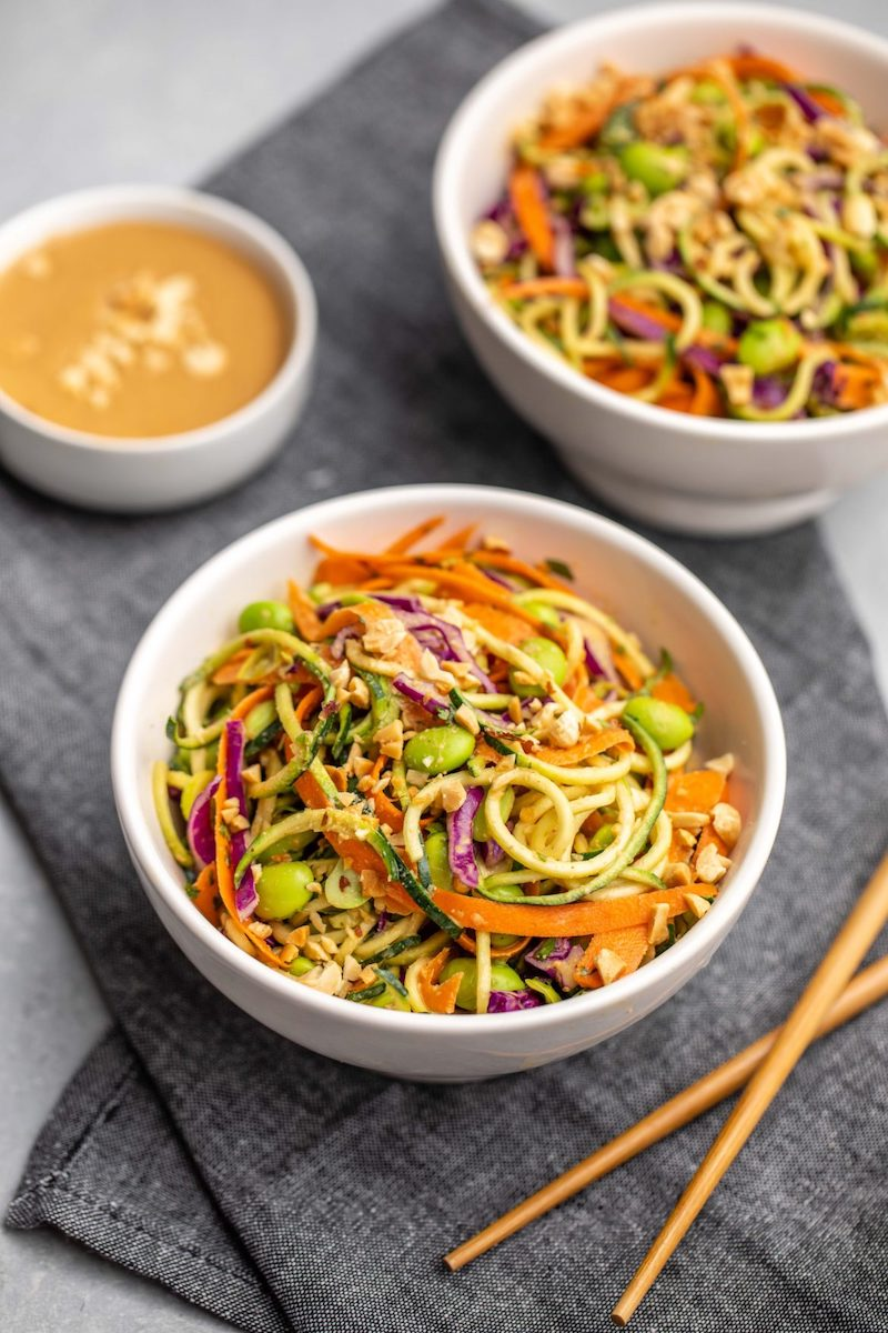 Weekly meal plan: Zucchini Noodle Salad with Peanut Sauce at From My Bowl