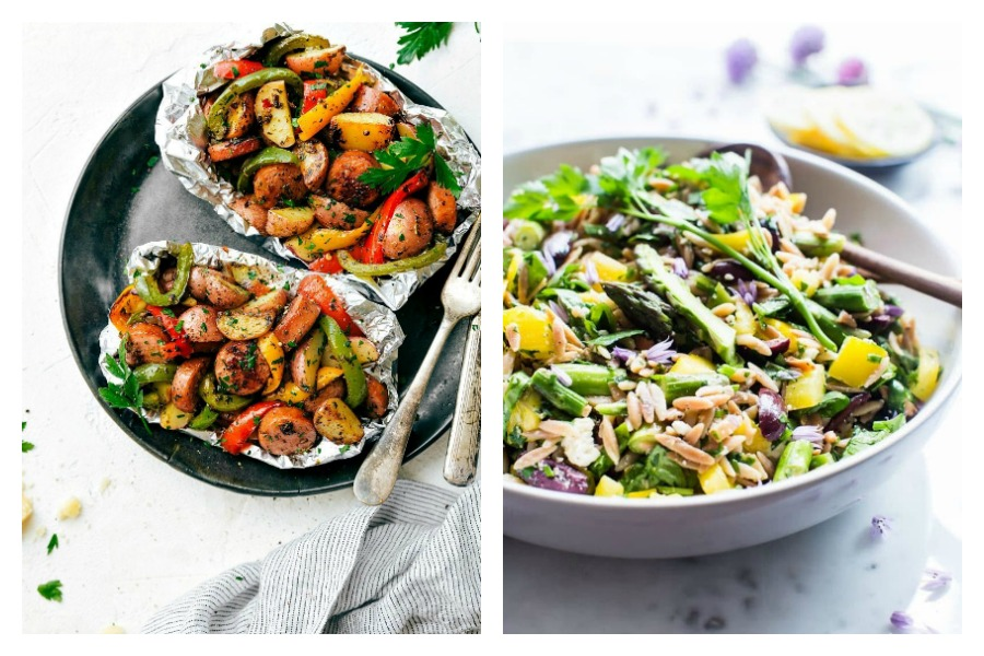 Weekly meal plan: Foil pack dinners at Chelsea's Messy Apron and Lemon Orzo Salad at Vanilla & Bean