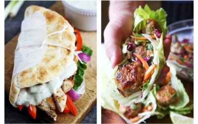 Weekly meal plan: 30 minute meals including Gyros at Creme de la Crumb and Thai meatballs at The Garlic Diaries