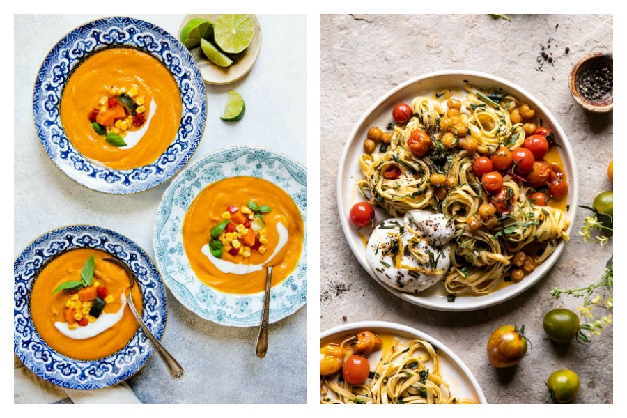 The best August produce in this weekly meal plan: Carrot Soup at Healthy Nibbles and Tomato Pasta at Half-baked Harvest