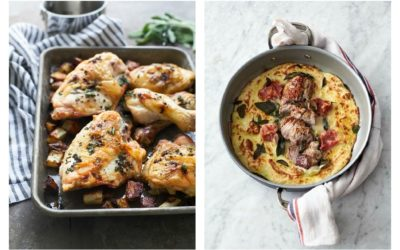 Weekly meal plan: 5-ingredient meals | Roasted Sage-Butter Chicken at Cooking for Keeps and Jaime Oliver's Pork & Mash at The Happy Foodie