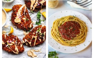 Weekly meal plan for picky eaters: Pretzel Crusted Chicken at Platings & Pairings and Tomato Sauce at Healthy Midwestern Girl