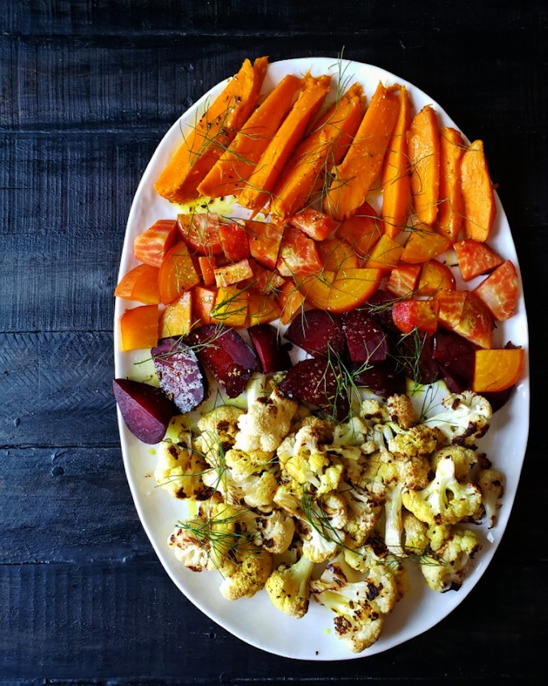 Weekly meal plan: Roasted root veggies in Turmeric oil at Mango & Tomato