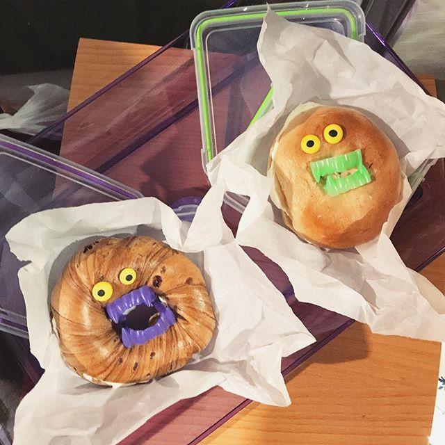 Easy Halloween treats on Instagram: Halloween bagel snacks by Cool Mom Eats