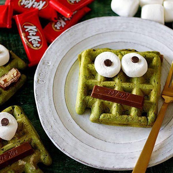 Easy Halloween treats on Instagram: Frankenstein waffle by Handmade Charlotte