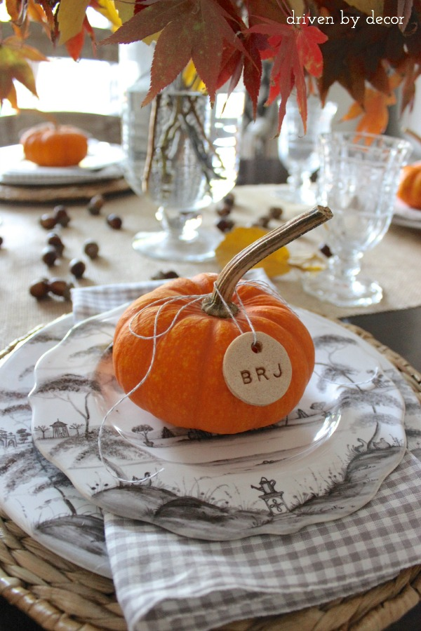 Eco-friendly table settings for Thanksgiving with Driven by Decor's salt-dough pumpkins
