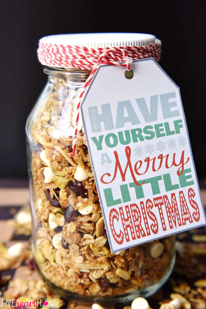 Gingerbread granola mason jar gift from Five Heart Home