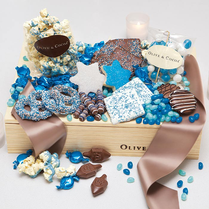 Hanukkah gourmet gift box from Olive & Cocoa